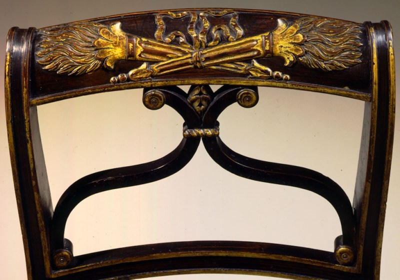 Grain-painted, Carved and Gilded Side Chairs