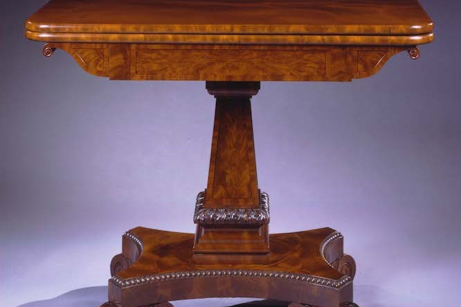 Carved Mahogany Card Table by Isaac Vose