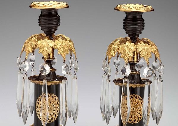 Pair of Brass Regency Candlesticks
