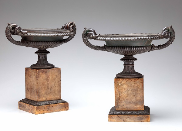 Pair of Bronze Cylix Urns on Sienna Marble Bases in untouched antique surface.