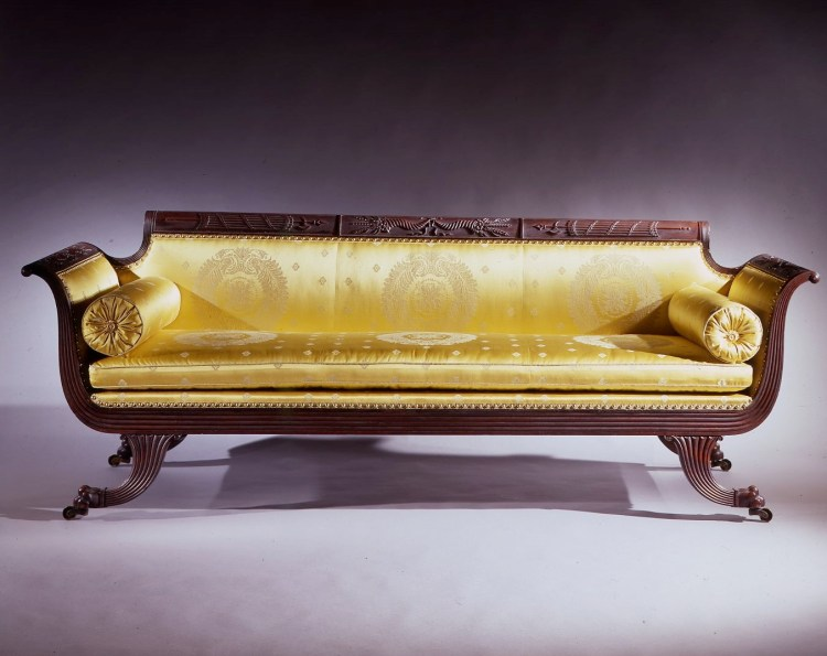 Grecian Carved Mahogany Sofa by Duncan Phyfe