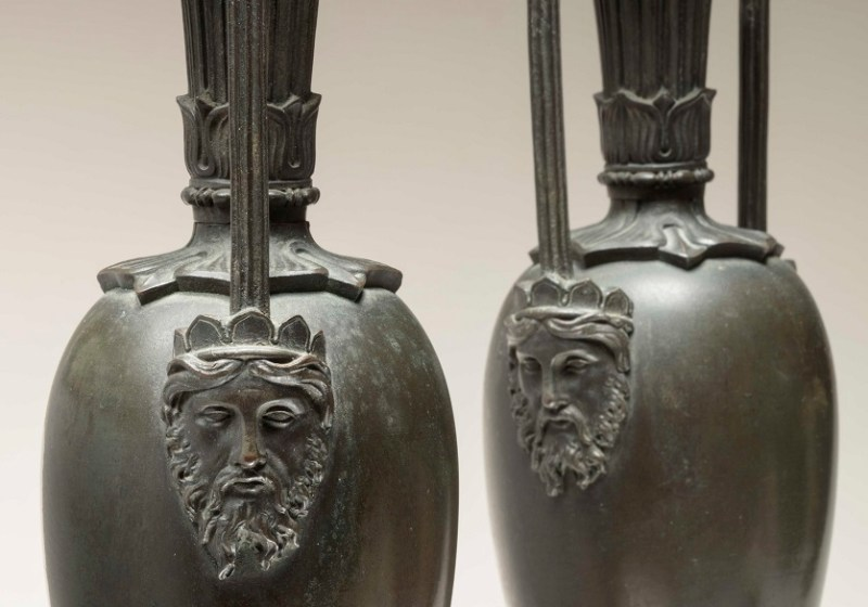 Pair of Bronze Urns on Sienna Marble Bases