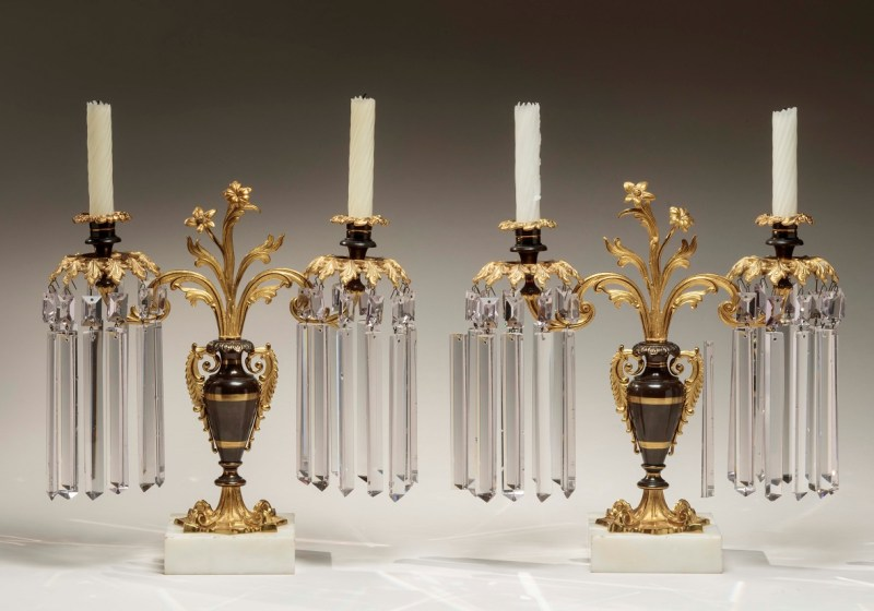 Pair of Patinated Brass Candelabra