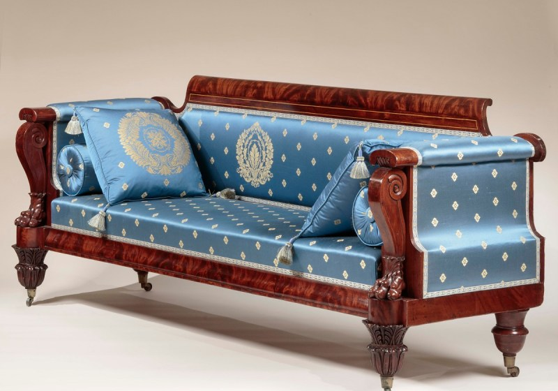 CARVED MAHOGANY BOX SOFA by Quervelle