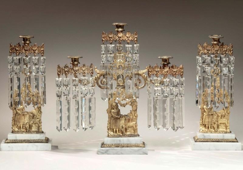 Cast Brass and Cut Glass Mantle Garniture
