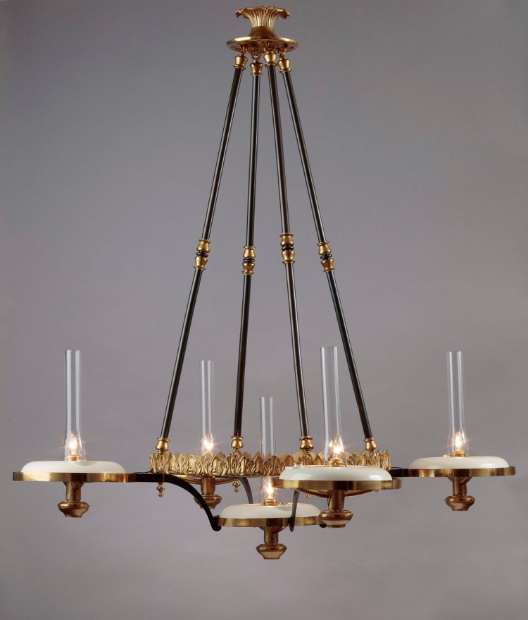 Simunbra Chandelier (lights on) without its five glass globe shades.