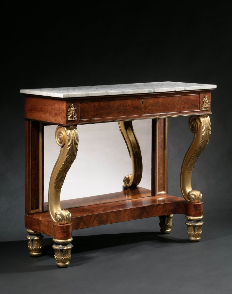 Bronze-Mounted Parcel-gilt Pier Table by Duncan Phyfe
