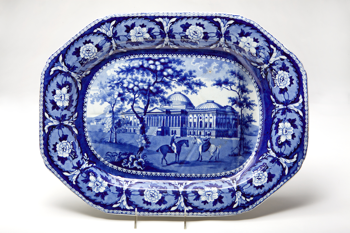 Blue and White Earthenware Meat Platter