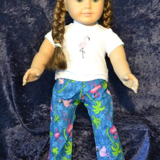 Flamingo Print PJ Set for 18 Inch Dolls