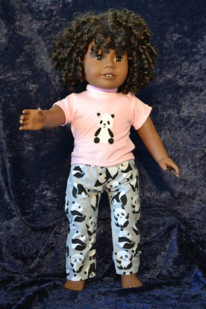 Gray Panda Print PJ Set for 18 Inch Dolls
