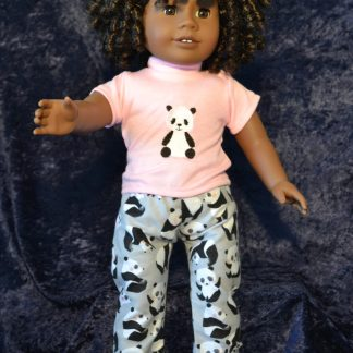 Gray Panda Print PJ Set for 18 Inch Dolls