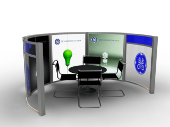 meeting area counters with backlighting and silicone edge graphics