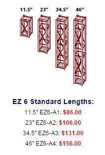ez6 standard sizes costs