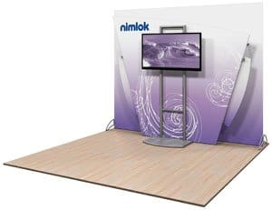 nimlok pulse trade show display wit monitor stand