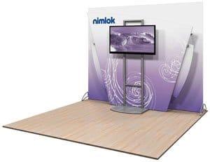 nimlok pulse trade show display wit monitor stand