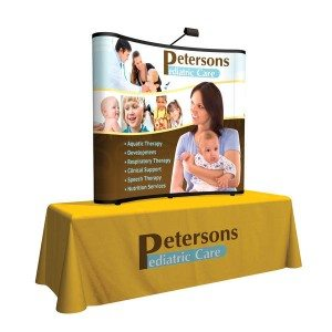 6ft curved show n rise table top pop up display