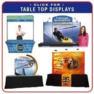 tradeshow table top displays and table throws