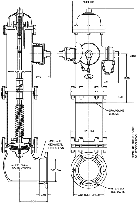 "5-1/4"" American-Darling® B-62-B-5|Standard Dimensions"