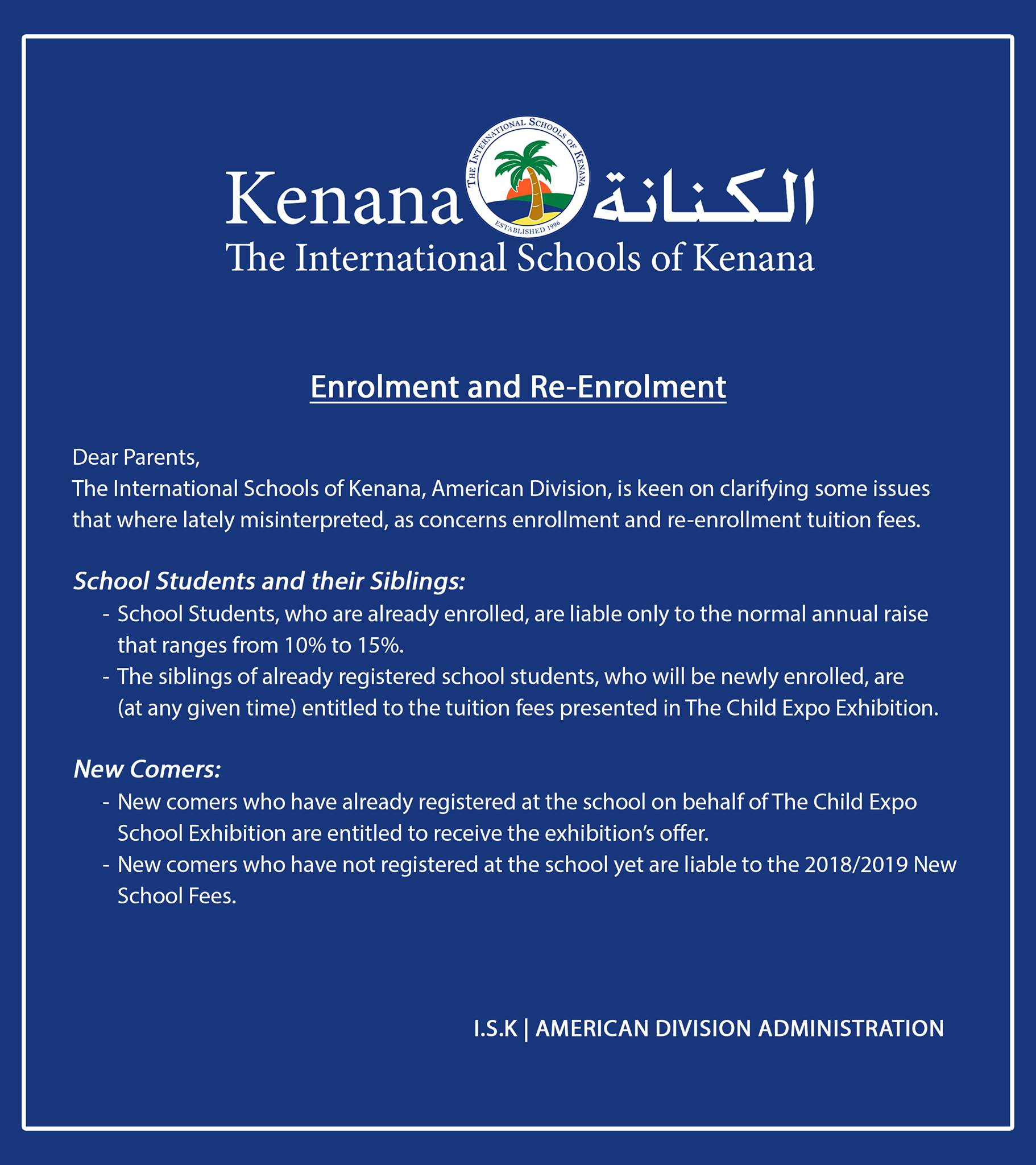 International schools of kenana | American Division - Enrollment and Re-Enrollment