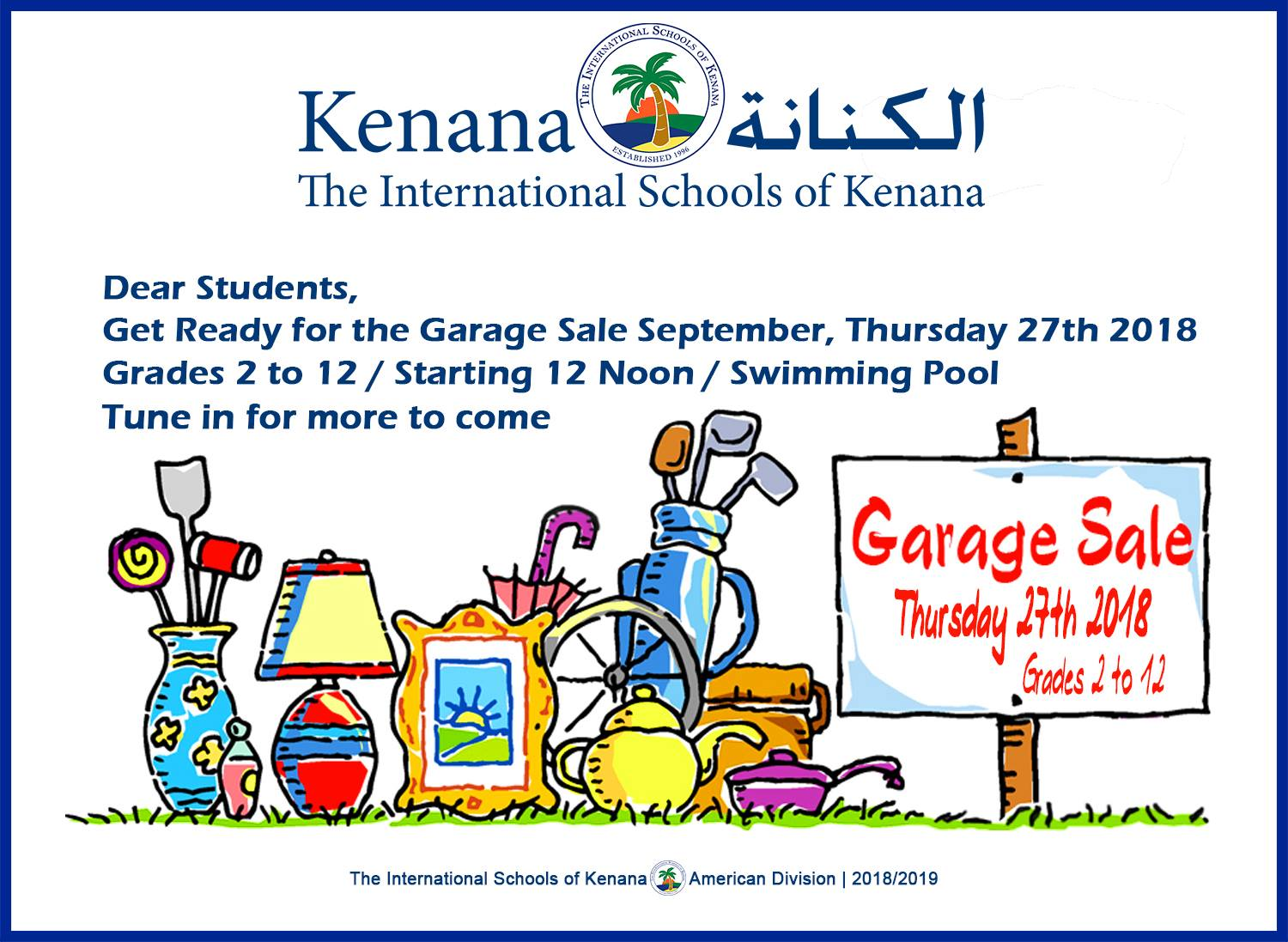 International Schools of Kenana | American Division - Garage Sale