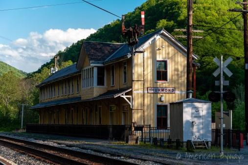 An evening view of the Thurmond Train Depot, still serviced by Amtrak.