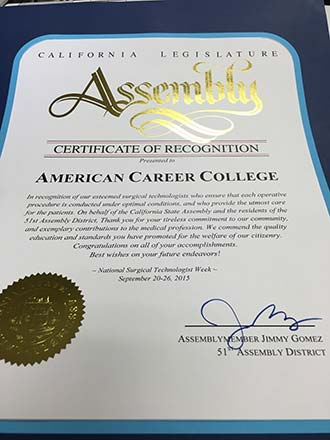 ACCLos Angeles Surgical Technology Program Receives Recognition