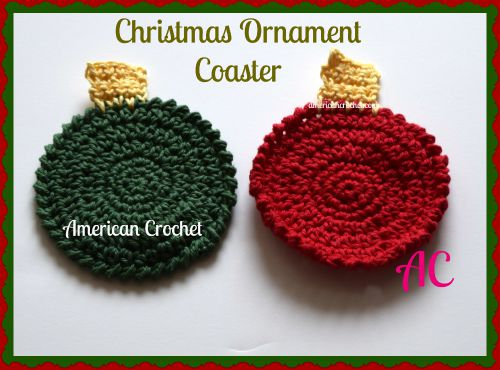 Christmas Ornament Coaster | Crochet Pattern | American Crochet @americancrochet.com #crochetpattern
