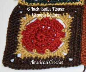 6 Inch Batik Flower Granny Square