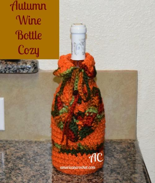 Autumn WIne Bottle Cozy   Free Crochet Pattern   American Crochet @americancrochet.com #freecrochetpattern