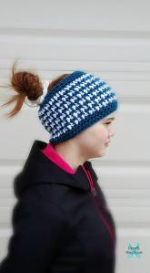 This & That Messy Bun Hat free crochet pattern