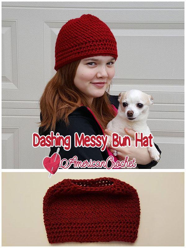 Dashing Messy Bun Hat | Free Crochet Pattern | American Crochet @americancrochet.ocm #freecrochetpattern