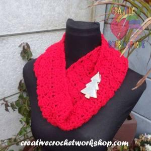 Festive Red Cowl free crochet pattern