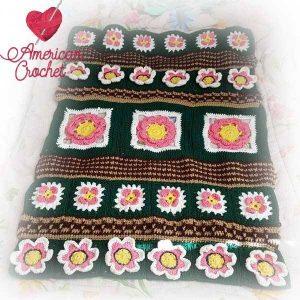 Fields Of Flowers Afghan | Free Crochet Pattern | American Crochet @americancrochet.com #freecrochetpattern #freecrochetalong