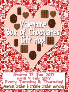 Valentine Box of Chocolates Gift Hop! Free Crochet Patterns @americancrochet.ocm @creativecrochetworkshop.com