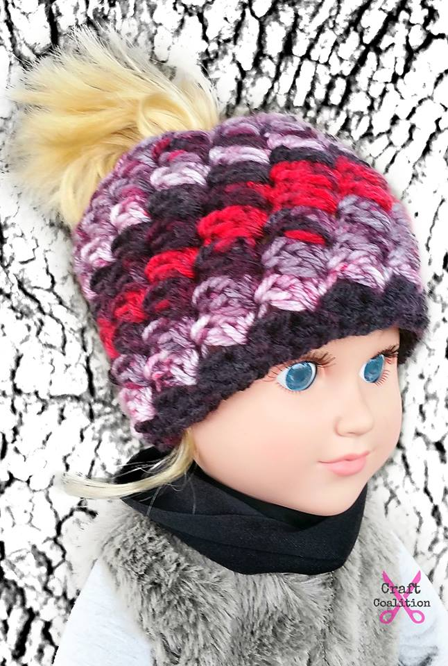My Dolly Everyday Kisses Messy Bun Hat | Crochet Pattern | American Crochet @americancrochet.com #crochetpattern