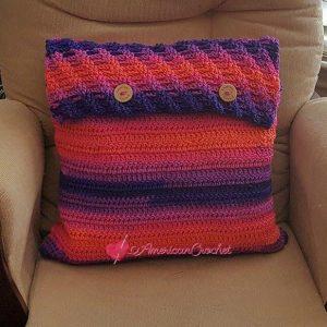 Rainbow Twist Pillow Cover | Crochet Pattern | American Crochet @americancrochet.com #crochetpattern