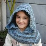 Winter Blues Hooded Cowl free crochet pattern