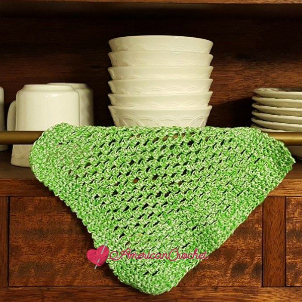 Double Moss Dishcloth | Free Crochet Pattern | American Crochet @americancrochet.com #Double Moss Dishcloth