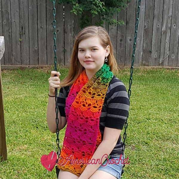Preppy Celestia Scarf | Free Crochet Pattern | American Crochet @americancrochet.com #freecrochetpattern