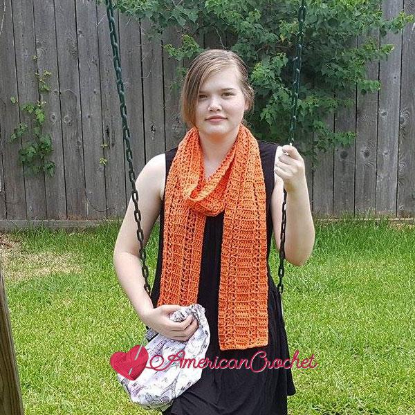 Sunseeker Summery Scarf | Free Crochet Pattern American Crochet @americancrochet.com #freecrochetpattern