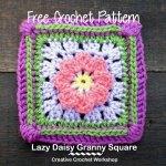 Lazy Daisy Granny Square free crochet pattern