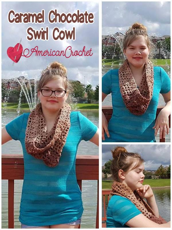 Caramel Chocolate Swirl Cowl | Free Crochet Pattern | American Crochet @americancrochet.com #freecrochetpattern