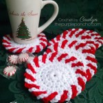 Peppermint Christmas Coasters Free Crochet Pattern