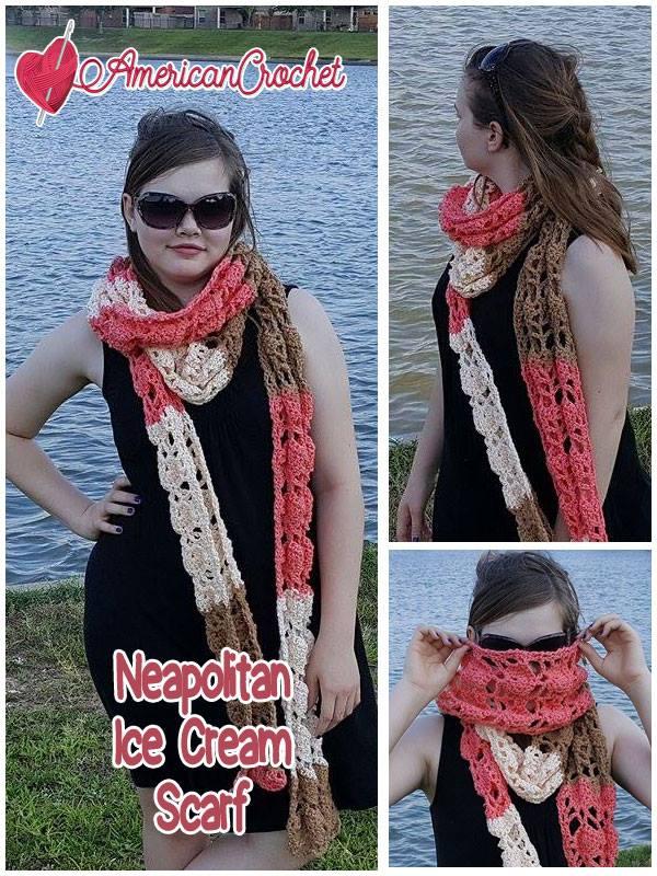 Neapolitan Ice Cream Scarf | Free Crochet Pattern | American Crochet @americancrochet.com #freecrochetpattern