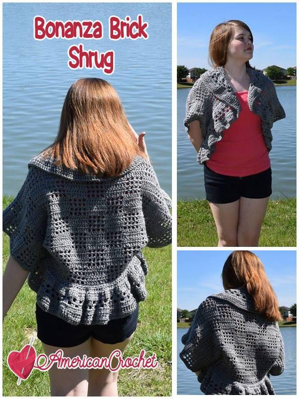 Bonanza Brick Shrug | Free Crochet Pattern | American Crochet @americancrochet.com #freecrochetpattern