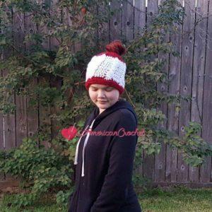 White Berry Cable Messy Bun Hat | Free Crochet Pattern | American Crochet @americancrochet.com #freecrochetpattern