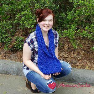Royally Sapphire Cowl | Crochet Pattern | American Crochet @americancrochet.com #crochetpattern