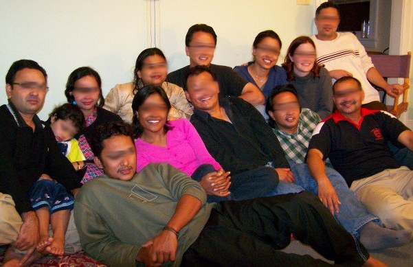 Typical Nepali gathering... S-di (back row- 5th from right), M-dai (front row, 3rd from right) and R-dai (front row, most right). P and I are back row 4th and 2nd from right respectively