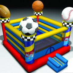 Inflatable Soccer Ball Chair Small Office Chairs Cheap Open Air Sports Bouncer Themed Bounce House Rental