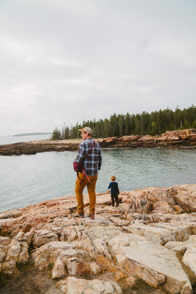 family with kids exploring rocky shore in acadia national park